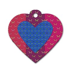 Butterfly Heart Pattern Dog Tag Heart (two Sides) by Simbadda