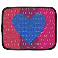 Butterfly Heart Pattern Netbook Case (xxl)  by Simbadda