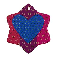Butterfly Heart Pattern Snowflake Ornament (two Sides) by Simbadda