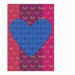 Butterfly Heart Pattern Small Garden Flag (two Sides) by Simbadda