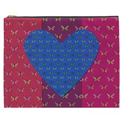 Butterfly Heart Pattern Cosmetic Bag (xxxl)  by Simbadda