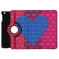 Butterfly Heart Pattern Apple Ipad Mini Flip 360 Case by Simbadda