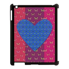 Butterfly Heart Pattern Apple Ipad 3/4 Case (black) by Simbadda