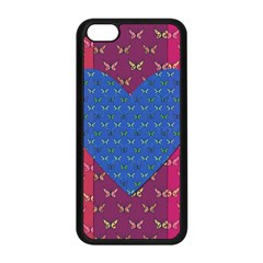 Butterfly Heart Pattern Apple Iphone 5c Seamless Case (black) by Simbadda