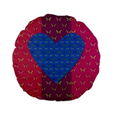 Butterfly Heart Pattern Standard 15  Premium Flano Round Cushions by Simbadda