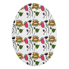 Handmade Pattern With Crazy Flowers Ornament (oval) by Simbadda