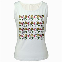 Handmade Pattern With Crazy Flowers Women s White Tank Top by Simbadda