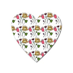 Handmade Pattern With Crazy Flowers Heart Magnet by Simbadda