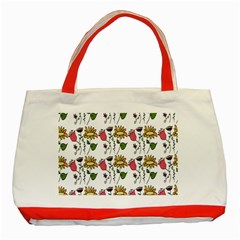 Handmade Pattern With Crazy Flowers Classic Tote Bag (red) by Simbadda