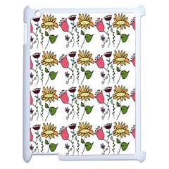 Handmade Pattern With Crazy Flowers Apple Ipad 2 Case (white) by Simbadda