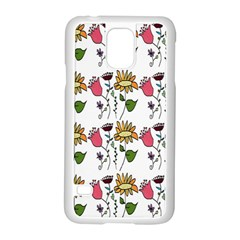 Handmade Pattern With Crazy Flowers Samsung Galaxy S5 Case (white) by Simbadda