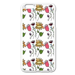 Handmade Pattern With Crazy Flowers Apple Iphone 6 Plus/6s Plus Enamel White Case by Simbadda