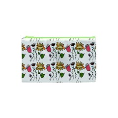 Handmade Pattern With Crazy Flowers Cosmetic Bag (xs) by Simbadda