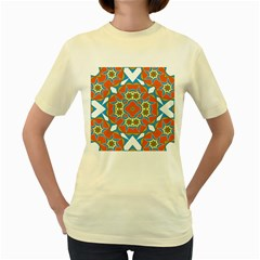 Digital Computer Graphic Geometric Kaleidoscope Women s Yellow T Shirt