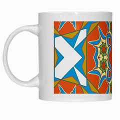 Digital Computer Graphic Geometric Kaleidoscope White Mugs by Simbadda
