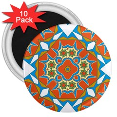 Digital Computer Graphic Geometric Kaleidoscope 3  Magnets (10 Pack)  by Simbadda
