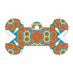 Digital Computer Graphic Geometric Kaleidoscope Dog Tag Bone (one Side) by Simbadda