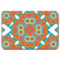Digital Computer Graphic Geometric Kaleidoscope Large Doormat  by Simbadda