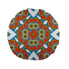 Digital Computer Graphic Geometric Kaleidoscope Standard 15  Premium Flano Round Cushions by Simbadda