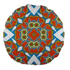 Digital Computer Graphic Geometric Kaleidoscope Large 18  Premium Flano Round Cushions by Simbadda