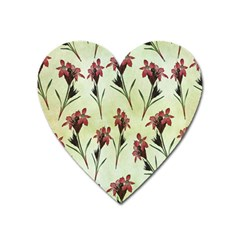 Vintage Style Seamless Floral Wallpaper Pattern Background Heart Magnet by Simbadda