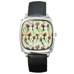 Vintage Style Seamless Floral Wallpaper Pattern Background Square Metal Watch by Simbadda
