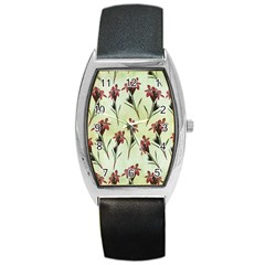 Vintage Style Seamless Floral Wallpaper Pattern Background Barrel Style Metal Watch by Simbadda