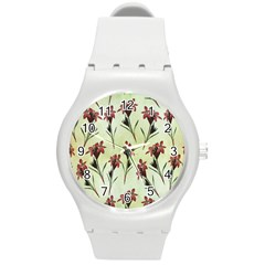 Vintage Style Seamless Floral Wallpaper Pattern Background Round Plastic Sport Watch (m) by Simbadda