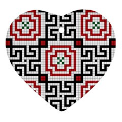Vintage Style Seamless Black, White And Red Tile Pattern Wallpaper Background Ornament (heart) by Simbadda