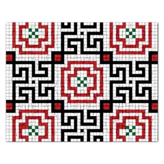 Vintage Style Seamless Black, White And Red Tile Pattern Wallpaper Background Rectangular Jigsaw Puzzl by Simbadda