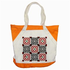Vintage Style Seamless Black, White And Red Tile Pattern Wallpaper Background Accent Tote Bag by Simbadda