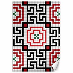 Vintage Style Seamless Black, White And Red Tile Pattern Wallpaper Background Canvas 20  X 30   by Simbadda