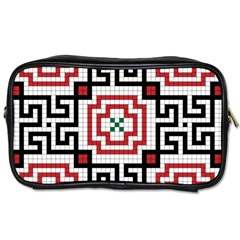 Vintage Style Seamless Black, White And Red Tile Pattern Wallpaper Background Toiletries Bags 2 Side by Simbadda
