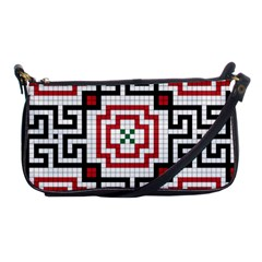 Vintage Style Seamless Black, White And Red Tile Pattern Wallpaper Background Shoulder Clutch Bags by Simbadda