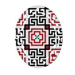 Vintage Style Seamless Black, White And Red Tile Pattern Wallpaper Background Oval Filigree Ornament (two Sides) by Simbadda