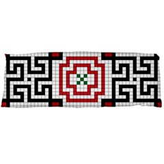 Vintage Style Seamless Black, White And Red Tile Pattern Wallpaper Background Body Pillow Case (dakimakura) by Simbadda