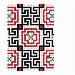 Vintage Style Seamless Black, White And Red Tile Pattern Wallpaper Background Small Garden Flag (two Sides) by Simbadda
