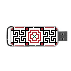 Vintage Style Seamless Black, White And Red Tile Pattern Wallpaper Background Portable Usb Flash (two Sides) by Simbadda