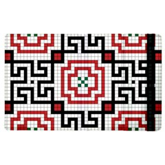 Vintage Style Seamless Black, White And Red Tile Pattern Wallpaper Background Apple Ipad 3/4 Flip Case by Simbadda