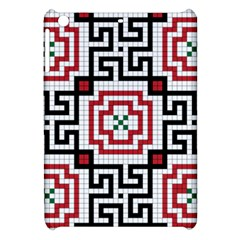 Vintage Style Seamless Black, White And Red Tile Pattern Wallpaper Background Apple Ipad Mini Hardshell Case by Simbadda