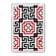 Vintage Style Seamless Black, White And Red Tile Pattern Wallpaper Background Apple Ipad Mini Case (white) by Simbadda