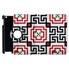 Vintage Style Seamless Black, White And Red Tile Pattern Wallpaper Background Apple Ipad 3/4 Flip 360 Case by Simbadda