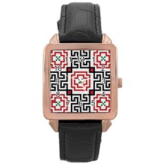Vintage Style Seamless Black, White And Red Tile Pattern Wallpaper Background Rose Gold Leather Watch  by Simbadda