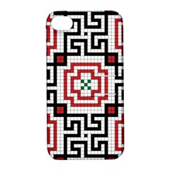 Vintage Style Seamless Black, White And Red Tile Pattern Wallpaper Background Apple Iphone 4/4s Hardshell Case With Stand by Simbadda