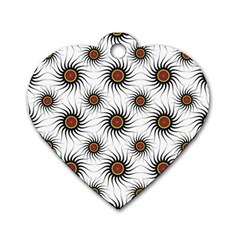 Pearly Pattern Half Tone Background Dog Tag Heart (one Side) by Simbadda