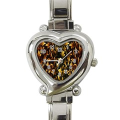 Loral Vintage Pattern Background Heart Italian Charm Watch by Simbadda