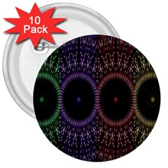 Digital Colored Ornament Computer Graphic 3  Buttons (10 pack)
