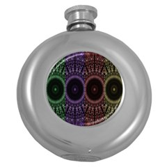 Digital Colored Ornament Computer Graphic Round Hip Flask (5 Oz) by Simbadda