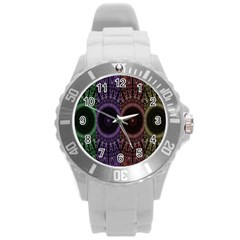 Digital Colored Ornament Computer Graphic Round Plastic Sport Watch (l) by Simbadda