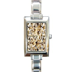 Floral Vintage Pattern Background Rectangle Italian Charm Watch by Simbadda